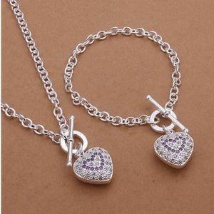 925 sterling silver Necklace Bracelet jewelry set